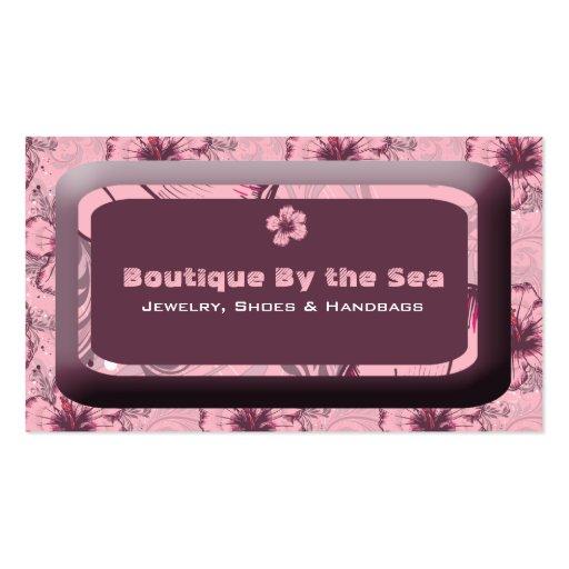 Hibisco rosado del vintage tarjeta de visita