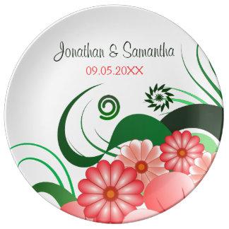 Hibisco rosado floral que casa la placa de la plato de cerámica