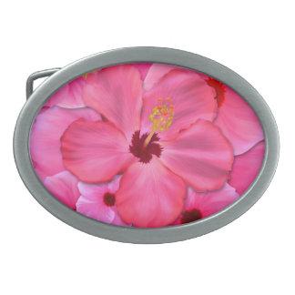 Hibisco rosado hebilla cinturon oval