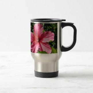 Hibisco rosado oscuro taza de viaje