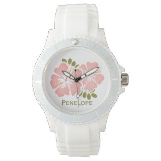 Hibisco rosado personalizado relojes de pulsera