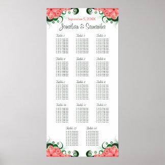 Hibisco rosado que casa 14 tablas que asientan póster
