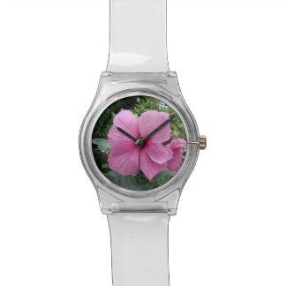 Hibisco rosado relojes de pulsera