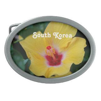 Hibisco surcoreano hebillas cinturon ovales