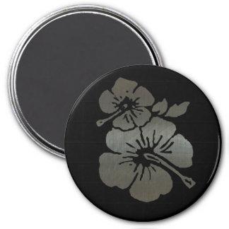 Hibisco texturizado negro y de plata metálico imán redondo 7 cm