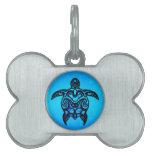 Hibisco tribal de la tortuga placa mascota