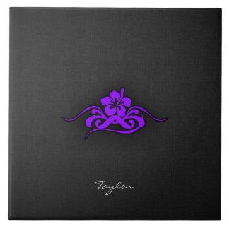 Hibisco tribal púrpura violeta azulejo cuadrado grande