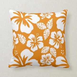 Hibisco tropical anaranjado oscuro cojín