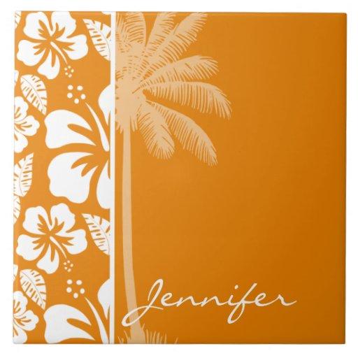 Hibisco tropical anaranjado oscuro; Palma del vera Tejas
