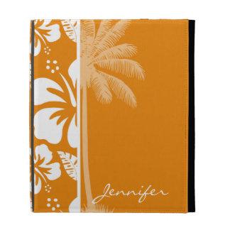 Hibisco tropical anaranjado oscuro; Palma del vera