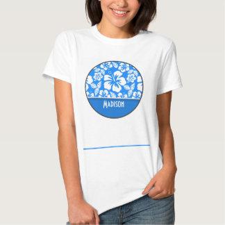Hibisco tropical azul azul; Personalizado Poleras