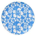 Hibisco tropical azul azul plato de cena