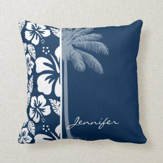 Hibisco tropical azul de medianoche oscuro; Palma Cojin