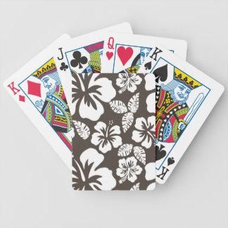 Hibisco tropical de color topo oscuro cartas de juego