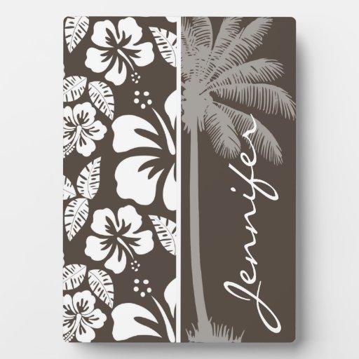 Hibisco tropical de color topo oscuro; Palma del v Placa Para Mostrar