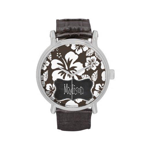Hibisco tropical de color topo oscuro; Pizarra Reloj