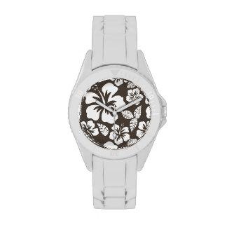 Hibisco tropical de color topo oscuro relojes de mano