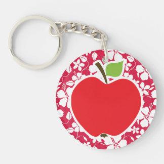 Hibisco tropical de Fuschia Apple Llaveros