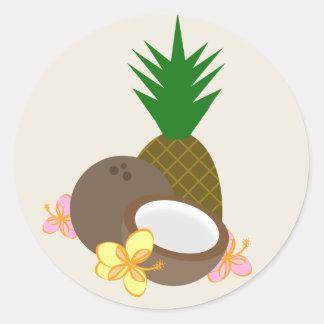 Hibisco tropical de la piña del coco de Luau Pegatina Redonda