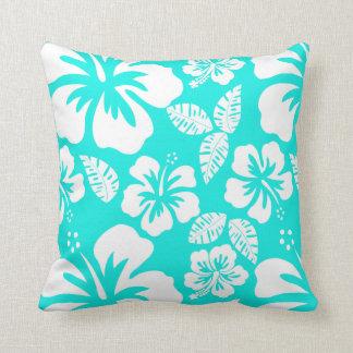Hibisco tropical de la turquesa brillante cojin