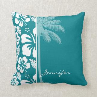 Hibisco tropical de la turquesa oscura; Palma Cojin