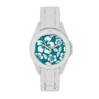 Hibisco tropical de la turquesa oscura relojes
