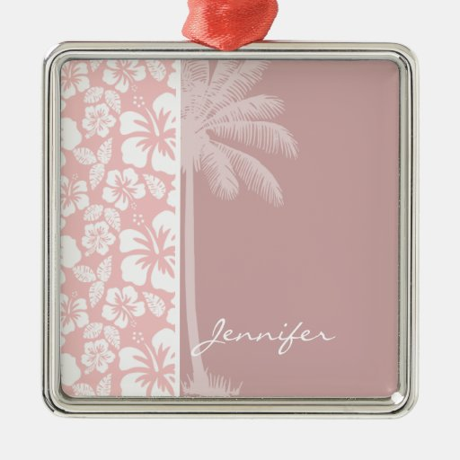 Hibisco tropical de los rosas bebés; Palma Ornaments Para Arbol De Navidad