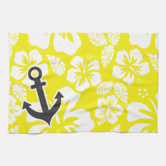 Hibisco tropical del amarillo de cadmio Ancla Toallas De Mano