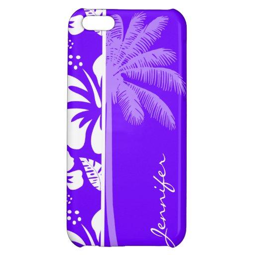 Hibisco tropical del añil eléctrico; Palma