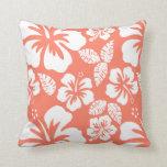 Hibisco tropical del color coralino almohadas
