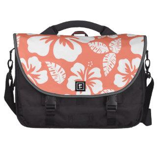Hibisco tropical del color coralino bolsas de portátil