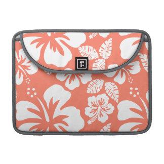 Hibisco tropical del color coralino fundas para macbooks