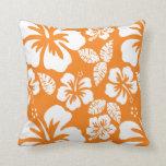 Hibisco tropical del naranja de cadmio almohadas