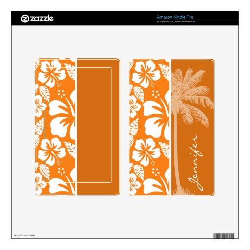 Hibisco tropical del naranja de cadmio; Palma Pegatina Skin Para Kindle Fire