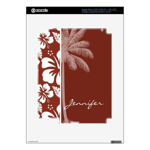 Hibisco tropical del Umber quemado; Palma del vera Pegatina Skin Para iPad 3