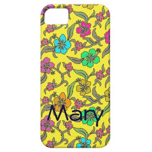 Hibisco tropical en fondo amarillo brillante iPhone 5 protector