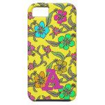 Hibisco tropical en fondo amarillo brillante iPhone 5 fundas