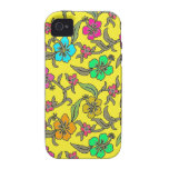 Hibisco tropical en fondo amarillo brillante Case-Mate iPhone 4 fundas