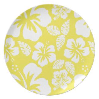 Hibisco tropical hawaiano amarillo limón platos de comidas