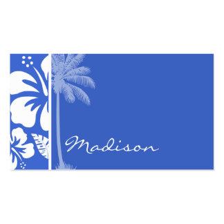 Hibisco tropical hawaiano azul de Han; Palma Tarjetas De Negocios