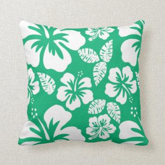 Hibisco tropical hawaiano del verde de jade almohadas
