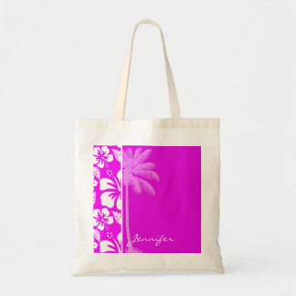 Hibisco tropical hawaiano fucsia Palma Bolsas Lienzo