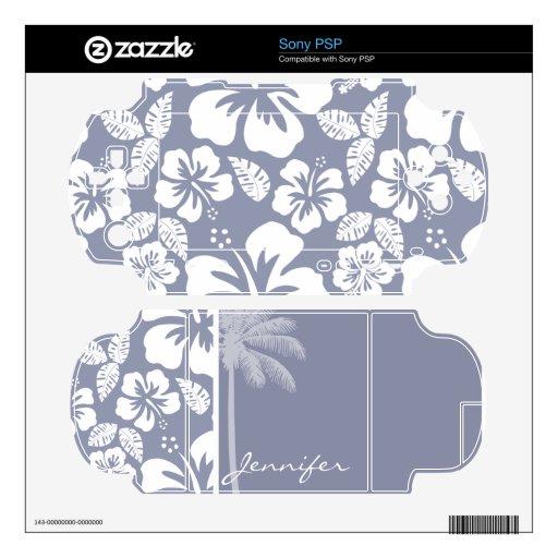 Hibisco tropical hawaiano Gris-Azul; Palma Calcomanía Para El PSP
