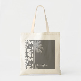 Hibisco tropical hawaiano gris; Palma del verano Bolsa