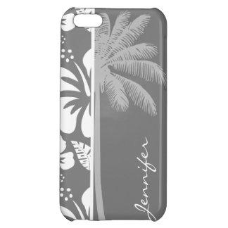Hibisco tropical hawaiano gris Palma del verano