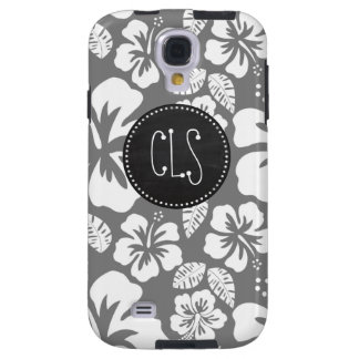 Hibisco tropical hawaiano gris; Pizarra retra Funda Para Galaxy S4