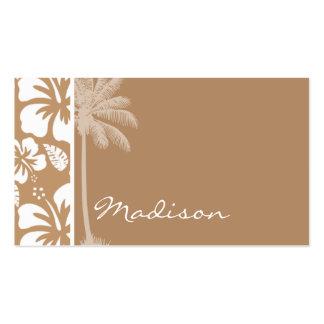 Hibisco tropical hawaiano marrón claro; Palma Tarjetas De Visita