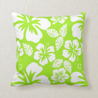 Hibisco tropical hawaiano Verde-Amarillo Almohadas