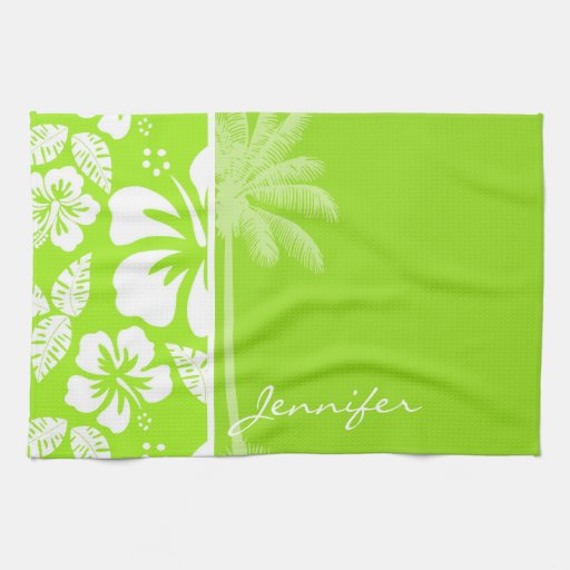 Hibisco tropical hawaiano Verde-Amarillo; Palma Toallas