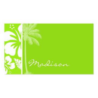 Hibisco tropical hawaiano Verde-Amarillo; Palma Tarjetas De Visita